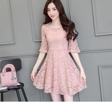 202bi夏季中长式ri衣裙加大码荷叶袖裙子女修身显瘦钉珠大摆裙