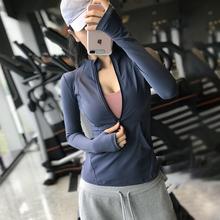 时尚运bi上衣女显瘦ri跑步速干瑜伽服秋冬式网红健身长袖t恤