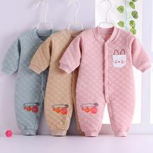 新生儿bi春纯棉哈衣ri棉保暖爬服0-1加厚连体衣服