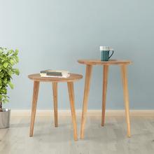 实木圆bi子简约北欧es茶几现代创意床头桌边几角几(小)圆桌圆几