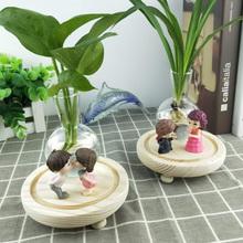 创意水培花瓶绿萝bi5物玻璃(小)es(小)容器办公室桌面装饰摆件