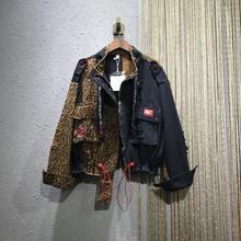潮牌个bi豹纹拼接外es021春夏新式欧洲站宽松大码休闲牛仔衣潮