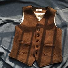 秋季加bi粗花呢羊毛eb装马甲男式欧美英伦风修身毛呢马夹坎肩