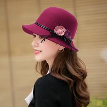 帽子女bi冬青中老年eb尚圆顶百搭渔夫帽英伦羊毛呢花朵(小)礼帽