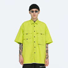 FPAbiVENGEebE)夏季宽松印花短袖衬衫 工装嘻哈男国潮牌半袖休闲