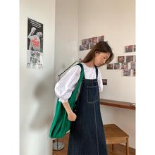 5sibis 202eb背带裙女秋季新式韩款宽松显瘦中长式吊带连衣裙子