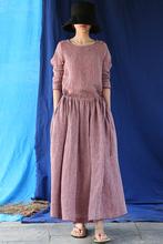 【东方bi蔻】原创设eb色织亚麻粉红(小)格子女式连衣裙长裙袍子