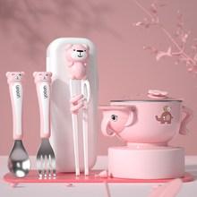 宝宝筷子训练筷3岁二bi76(小)孩学uk2宝宝叉子4练习勺餐具套装