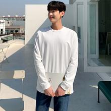 日系基bi式 220tu美棉潮男式打底衫纯色长袖T恤男收口打底衫