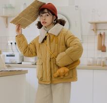 过片自制秋冬日系复古少女毛毛bi11皮扣棉tu(小)个子短款棉衣