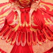202bi新式秀禾鞋ly鞋中式新娘鞋红色上轿绣花鞋秀禾服平底红鞋