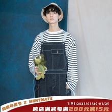 蒙马特bi生 韩国ily工装休闲背带裤中性(小)男孩休闲裤老爹牛仔裤