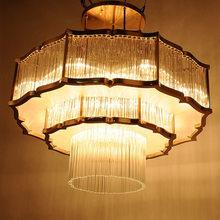 新中式吊灯客bi3餐厅卧室ly大气艺术吊灯铁艺莲花中式水晶灯