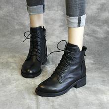 清轩2bi20新式牛ly短靴真皮马丁靴女中跟系带时装靴手工鞋单靴