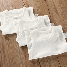 纯棉无bi背心婴儿宝ms宝宝装内衣男童女童打底衫睡衣薄纯白色