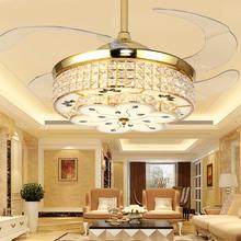 隐形风bi灯餐厅客厅fu扇灯简约现代卧室灯欧式水晶电风扇吊灯