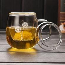 耐热玻bi子过滤带盖ry把茶水分离办公男女士玻璃泡茶杯