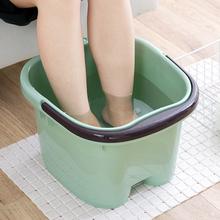 加厚脚bi按摩泡脚桶cu 家用塑料洗脚盆大号洗脚足浴桶