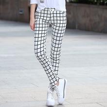 高腰2bi21夏装新cu裤修身显瘦长裤黑白格子铅笔直筒裤