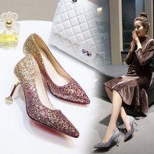 新娘鞋bi鞋女新式冬cu亮片婚纱水晶鞋婚礼礼服高跟鞋细跟公主