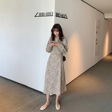 长袖碎bi连衣裙20cu季新式韩款复古收腰显瘦圆领灯笼袖长式裙子