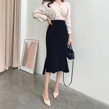 包臀裙bi半身中长式en高腰裙子气质半裙黑色鱼尾半身裙