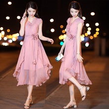 有女的bi的雪纺连衣en21新式夏中长式韩款气质收腰显瘦流行裙子