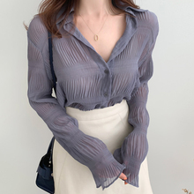雪纺衫bi长袖202wo洋气内搭外穿衬衫褶皱时尚(小)衫碎花上衣开衫