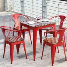 户外室bi铁艺餐桌庭ya套露天阳台实木防腐桌椅组合套件