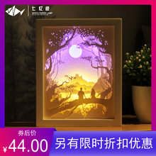七忆鱼bi影 纸雕灯emdiy材料包成品3D立体创意礼物叠影灯