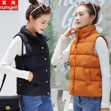 羽绒棉bi夹秋冬女背bi21新式短式棉服加厚保暖坎肩外套百搭马甲