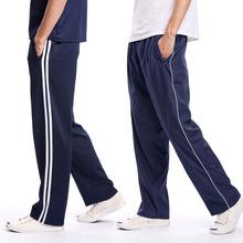 春式学bi裤宽松中裤bi气长裤弹性深蓝色高中校裤女裤