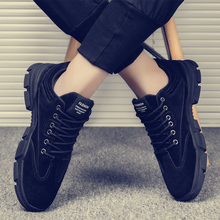 马丁靴bi春季韩款潮bi休闲鞋低帮工装大头鞋男士透气鞋子男
