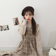 春装新bi韩款学生百fo显瘦背带格子连衣裙女a型中长式背心裙