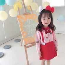 创意假bi带针织女童fo2020秋装新式INS宝宝可爱洋气卡通潮Q萌