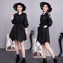 中长式bi衫裙202yi新式收腰显瘦纯色蕾丝肩拼接不规则洋气女潮