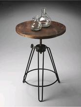 现代简bi茶几 边几yi(小)圆桌实木仿古铁艺古典茶桌椅组合