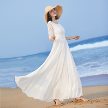 202bi新式女气质en摆长式连衣裙夏修身白色裙子蕾丝拼接沙滩裙