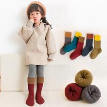 宝宝袜bi纯棉秋冬季sy宝袜加厚加绒保暖男童长筒毛圈堆堆毛巾