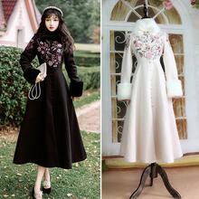 冬季民bi风女装复古sy领绣花夹棉加厚毛呢大衣大摆外套洋装