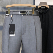 啄木鸟bi季薄式西裤od年高腰宽松大码商务休闲男裤中老年免烫