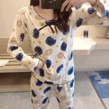 春秋季薄式长袖纯棉睡衣女士韩款春bi13甜美可ld服两件套装