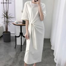 夏季宽bj绑带收腰过j7T恤裙女上衣新纯色纯棉圆领短袖连衣裙