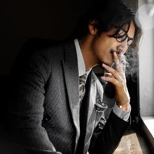 SOAbjIN英伦风lp排扣西装男 商务正装黑色条纹职业装西服外套