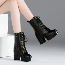 秋冬季bj0式女鞋高eu女英伦风复古短筒大码女靴系带粗跟短靴