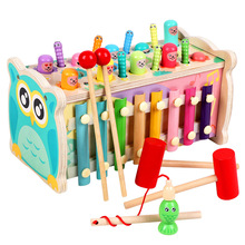 宝宝益bj七合一敲琴gw玩具男孩女孩宝宝早教磁性钓鱼抓虫游戏