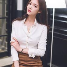 白色衬bj女设计感(小)nq风2020秋季新式长袖上衣雪纺职业衬衣女