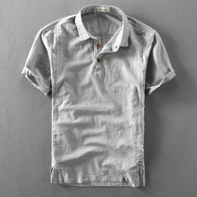 夏季男bj亚麻短袖衬bm薄式复古透气套头半袖麻布短袖男衬衣潮
