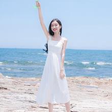 夏季新bj女装修身显zj裙雪纺吊带背心海边度假连衣裙长裙裙子