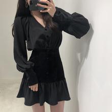韩国cbjic黑色丝zj修身显瘦高腰连衣裙长袖衬衫裙百搭A字长裙